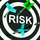 Risk On Dartboard Shows Unsafe — Stock Photo