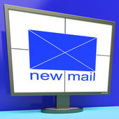 New Mail Envelope On Monitor Shows Mail Alert — Stock Photo