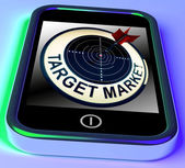 Target Market On Smartphone Shows Targeted Customers — Stock Photo
