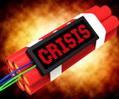 Crisis Message On Dynamite Showing Emergency And Problems — Stock Photo