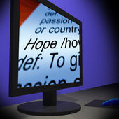 Hope On Monitor Showing Wishes — Stock Photo