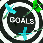 Goals On Dartboard Shows Aspirations — Stock Photo