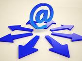 Email Arrows Shows Post Correspondence Through Web — Stock Photo