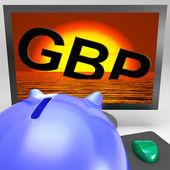 GBP Sinking On Monitor Shows British Depression — Stock Photo