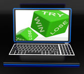 Win, Try, Lose Dices On Laptop Shows Gambling — Stock Photo
