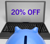 Twenty Percent Off On Notebook Shows Sellouts — Stock Photo