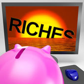 Riches Sinking On Monitor Shows Bankruptcy — Stock Photo