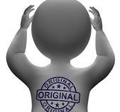 Gerçek otantik ürünlerini orijinal damgası adam gösterir — Stok fotoğraf