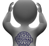 Original Stamp On Man Shows Genuine Authentic Products — Stock Photo