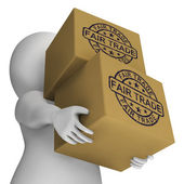 Fair Trade Stamp On Boxes Showing Ethical Produce — Stock Photo