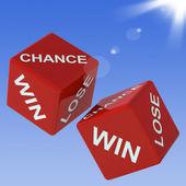 Chance, kazanmak, zar gösterir kumar kaybetmek — Stok fotoğraf