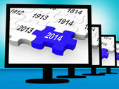 2014 On Monitors Showing Forecasting — Stock Photo