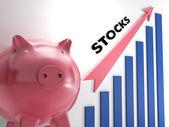 Criar gráfico de ações, mostrando o progresso — Foto Stock