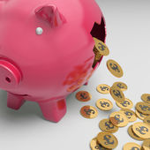 Broken Piggybank Showing British Financial State — Stock Photo