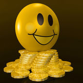 Smiley Face With Coins Shows Profitable Earnings — Stock Photo