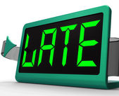 Late Message On Clock Showing Tardiness And Lateness — Stock Photo