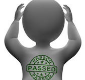 Passed Stamp On man Showing Quality Control Approved — Stock Photo