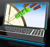 2014 Arrows On Laptop Showing Festivities — Stock Photo