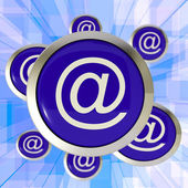 At Symbol Buttons Showing Online Correspondence — Stock Photo