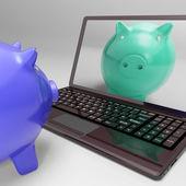 Piggy On Screen Shows Digital Web Piggybank — Stock Photo