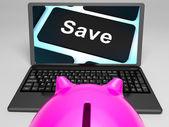 Touche save sur ordinateur portable affiche des prix promotionnels — Photo