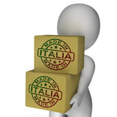Made In Italia Stamp On Boxes Shows Italian Products — Stock Photo