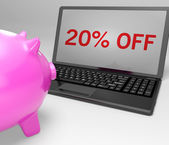 Vingt pour cent de réduction sur l'ordinateur portable affiche des ventes — Photo
