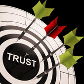 Trust On Dartboard Showing Reliability And Reliance — Stock Photo