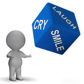 Laugh Cry Smile Dice Represents Different Emotions — Stock Photo