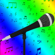 Microphone Closeup With Musical Notes Shows Songs Or Hits — Stock Photo #32847707