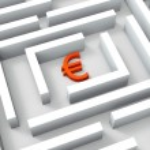 Euro Sign In Maze Shows Euros Credit — Stock Photo