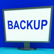Backup Screen Shows Archiving Back Up And Storage — Stock Photo