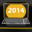Two Thousand And Fourteen On Laptop Shows New Year Resolution 20 — Stock Photo
