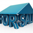 For Sale Sign Under Home — Stock Photo