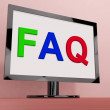 Faq On Monitor Shows Frequently Asked Questions Online — Zdjęcie stockowe