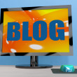 Stock Photo: Blog On Monitor Shows Blogging Or Weblog Online