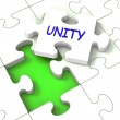 Stock Photo: Unity Puzzle Shows Partner Team Teamwork Or Collaboration