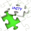 Unity Puzzle Shows Partner Team Teamwork Or Collaboration — Stock Photo