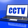 CCTV Laptop Shows Security Protection Or Monitoring Online — Stock Photo