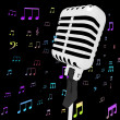 Microphone Music Closeup With Musical Notes Shows Songs Or Hits — Stock Photo #32848209