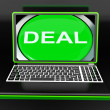 Stock Photo: Deal Laptop Shows Online Trade Contract Or Dealing