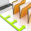 Laptop And Folders Shows Administration And Organized — Stock Photo