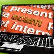 Stock Photo: Scam Laptop Shows Scheming Theft Deceit And Fraud Online