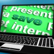 Save Laptop Shows Promotions Sales Discount Or Clearance — Stock Photo
