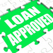 Loan Approved Puzzle Shows Credit Lending Agreement Approval — Stock Photo