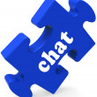 Chat Jigsaw Shows Chatting Typing Or Texting — Stock Photo