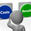 Costs Benefits Buttons Show Value And Analysis — Stock Photo