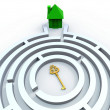Key To House In Maze Shows Property Search — Stock Photo #32848511