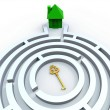 Key To House In Maze Shows Property Search — Stock Photo