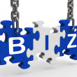 Biz Puzzle Shows Company Or Corporate Business — Stock Photo